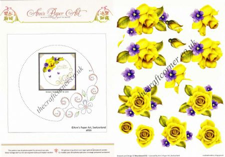 Flower Border Embroidery On Paper with Yellow Rose Flowers 3d Decoupage Sheet